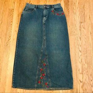 St John's Bay Long Embroidered Denim Skirt 10 E30